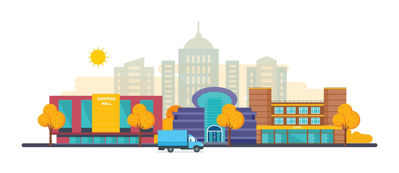 Jesieni miasta krajobrazy ustawiają z budynku zakupy centrum handlowym, kino, szkoła royalty ilustracja