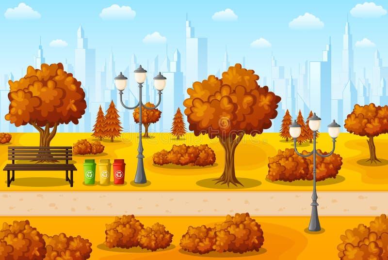 Jesieni miasta park z ławką i gratem royalty ilustracja