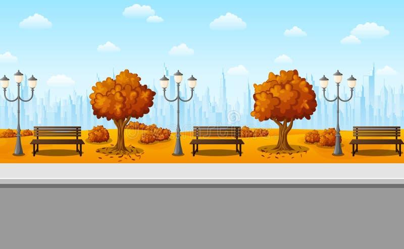 Jesieni miasta park z ławkami, streetlights i drzewami, ilustracji