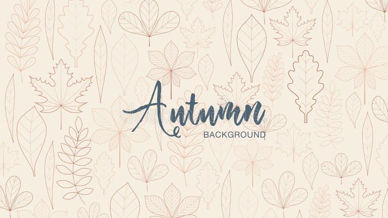 Jesieni miejsce dla teksta i liście Lekkiego i ciemnego brązu kolory zdjęcia royalty free