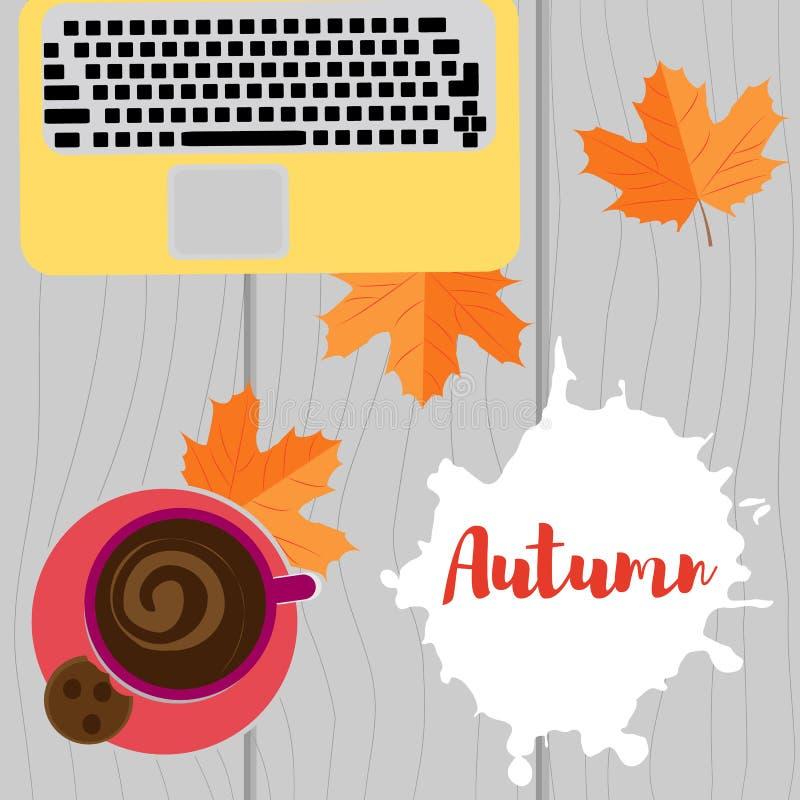 Jesieni miejsce pracy Laptop, kawa i kolorów żółtych liście na drewnianym tle, ilustracja wektor