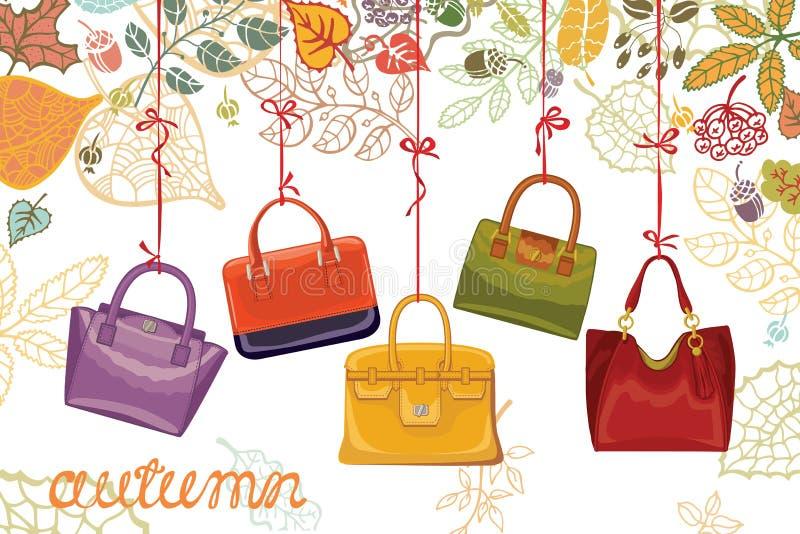 Jesieni moda Kobieta liście i torebki ilustracja wektor