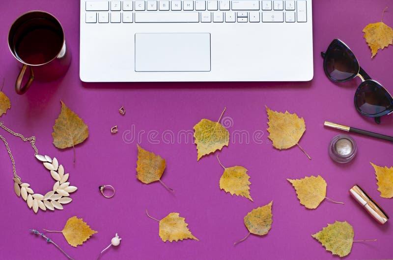 Jesieni mody biznesu purpurowy mieszkanie kłaść z żółtymi spadków liśćmi i laptopem zdjęcie stock