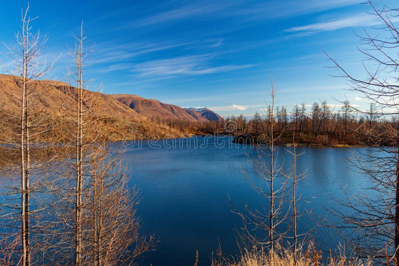 Jesieni natura Taimyr Norilsk Talnakh zdjęcia royalty free