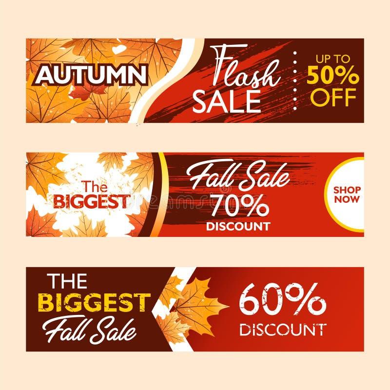 Jesieni oferty specjalnej sztandaru kolekcja dla promocji, publikacja Błyskowa sprzedaż, spadek sprzedaż Spada liście na kolorowy royalty ilustracja
