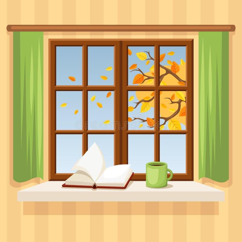 Jesieni okno również zwrócić corel ilustracji wektora royalty ilustracja