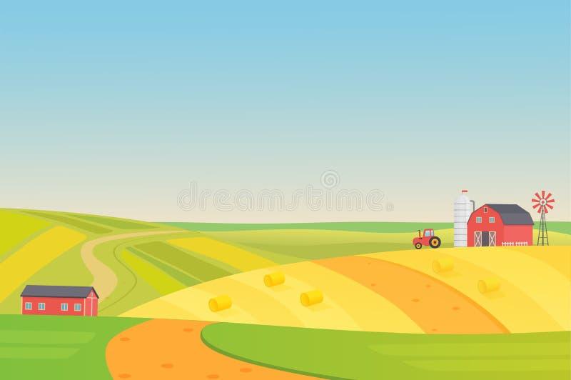 Jesieni pogodny eco zbiera gospodarstwo rolne krajobraz z rolnictwo pojazdami, wiatraczkiem, kiszonki wierza i sianem, Kolorowy m royalty ilustracja