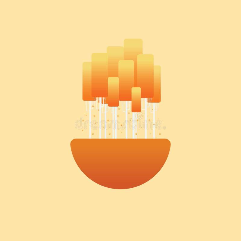 Jesieni pojęcia krajobrazowy wektorowy symbol z pomarańcze opuszcza na brzoz drzewach Relaks, spokojna sceneria ilustracja wektor