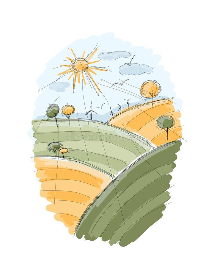 Jesieni pola nakreślenie dla twój projekta ilustracji