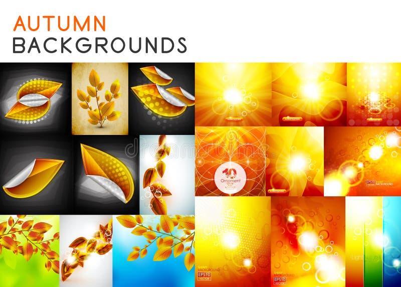 Jesieni pomarańcze i żółci błyszczący tła ustawiamy i spadek natury brąz opuszcza pojęcia ilustracji