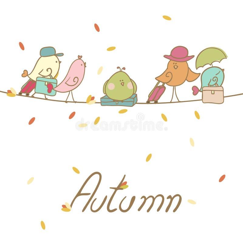 Jesieni Ptasia migracja ilustracja wektor