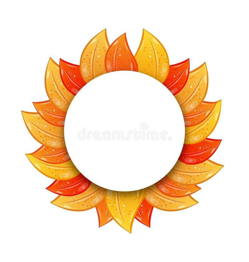 Jesieni pustego miejsca rama z Kolorowymi liśćmi na Białym tle, ilustracji