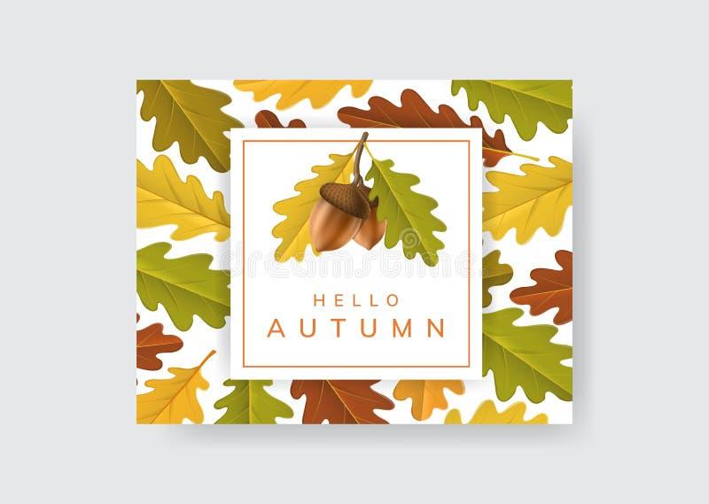 Jesieni rama z acorn i dębu liściem royalty ilustracja