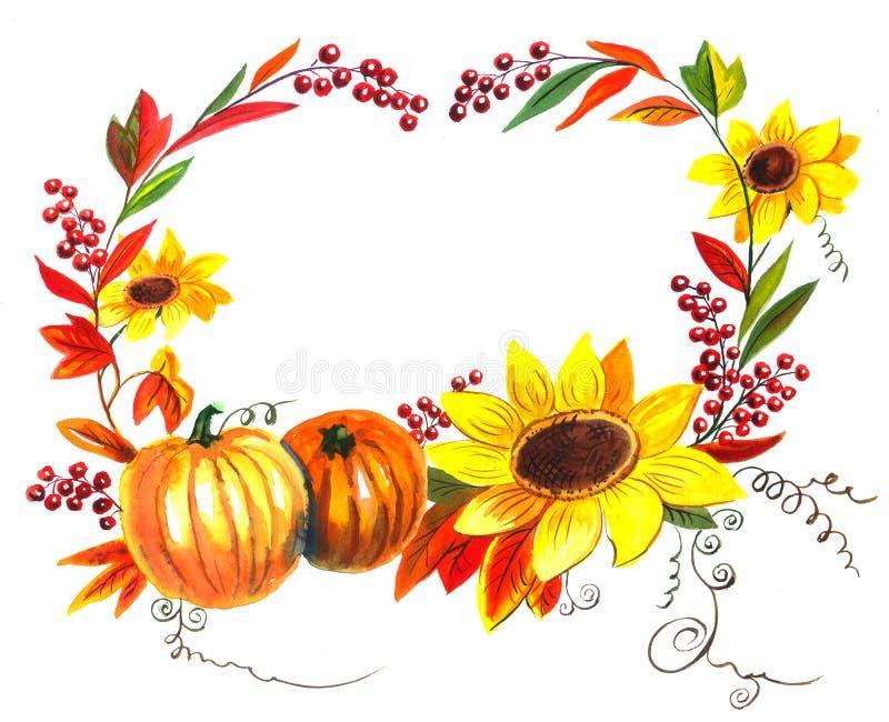 Jesieni rama z baniami i słonecznikami ilustracji