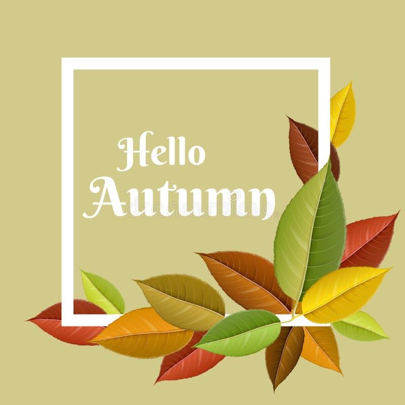 Jesieni rama z kolorowymi liśćmi royalty ilustracja