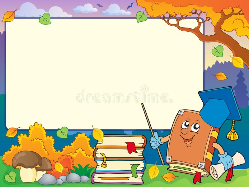 Jesieni rama z książkowym nauczycielem 1 ilustracji