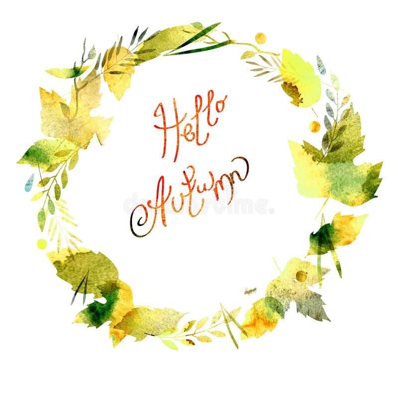 Jesieni rama z liśćmi, jagody, gałąź, jesień elementy Podpis jesień Cześć akwareli tekstury kolor żółty, zieleń, brąz, ocher ilustracja wektor