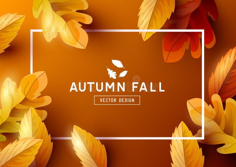 Jesieni Ramowego tła Odgórny widok ilustracji