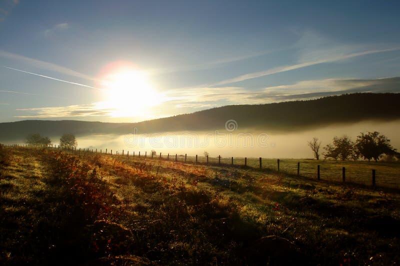 Jesieni reflexion kolorowy mglisty krajobraz zdjęcia stock
