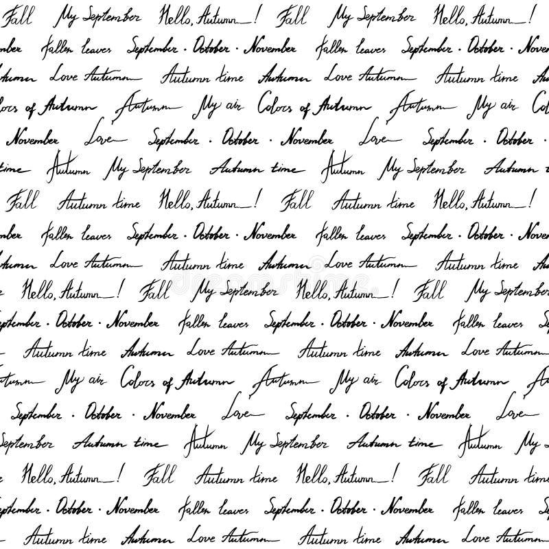 Jesieni słowa zwrota italika literowania atramentu monochromatycznej czarny i biały sztuki tekstury wektorowy bezszwowy deseniowy ilustracja wektor