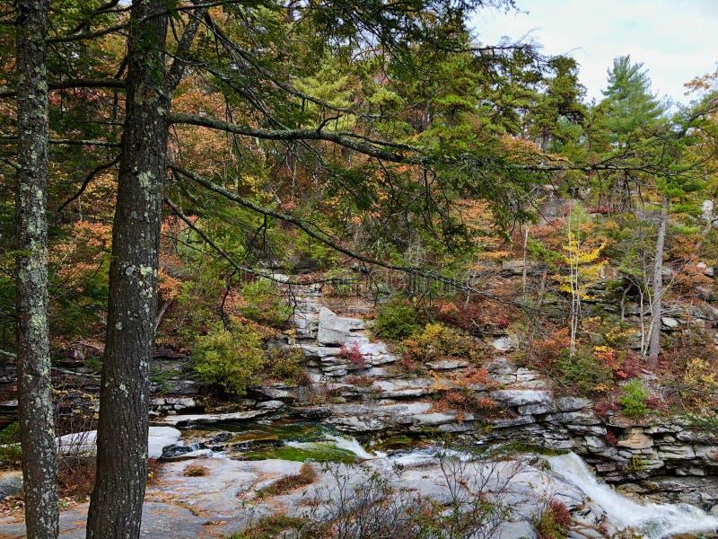 Jesieni scena w Minnewaska stanu parka prezerwie w Nowy Jork fotografia royalty free