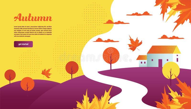 Jesieni sceneria z liśćmi, domem, drzewem i wzgórzem, Tła i lądowania strony wektoru ilustracja ilustracja wektor