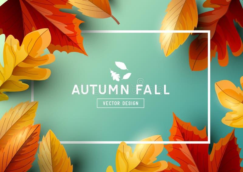 Jesieni Sezonowego Ramowego tła Odgórny widok ilustracja wektor
