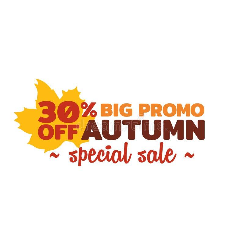 Jesieni specjalnej sprzedaży wektoru odznaka prosta typografia z spadku suchym liściem kapuje ilustracyjnego ornament ilustracji