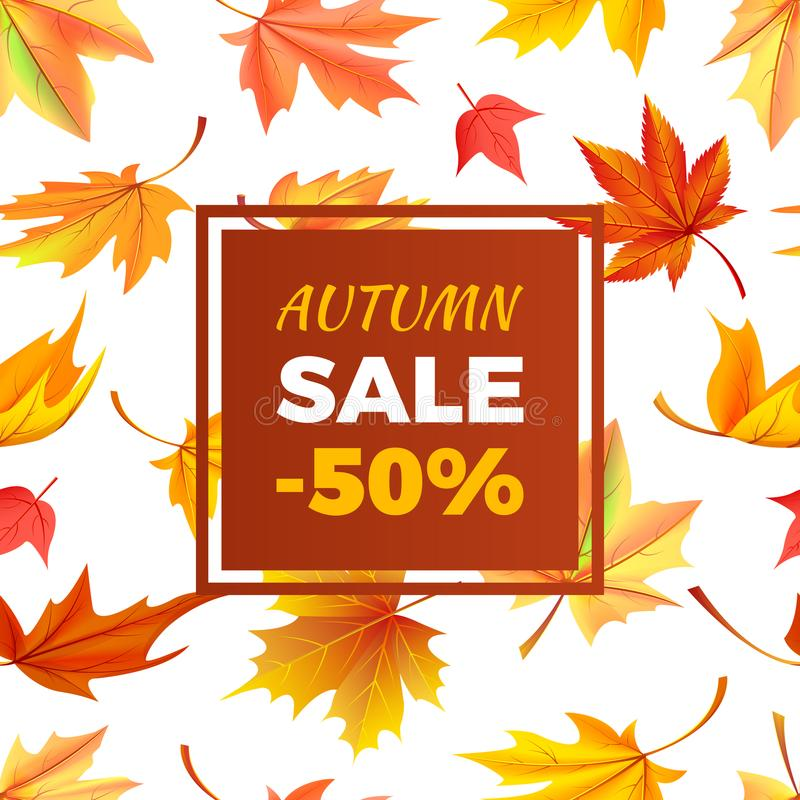 Jesieni sprzedaż -50 daleko w ramie Opuszcza ulistnienie ilustracji