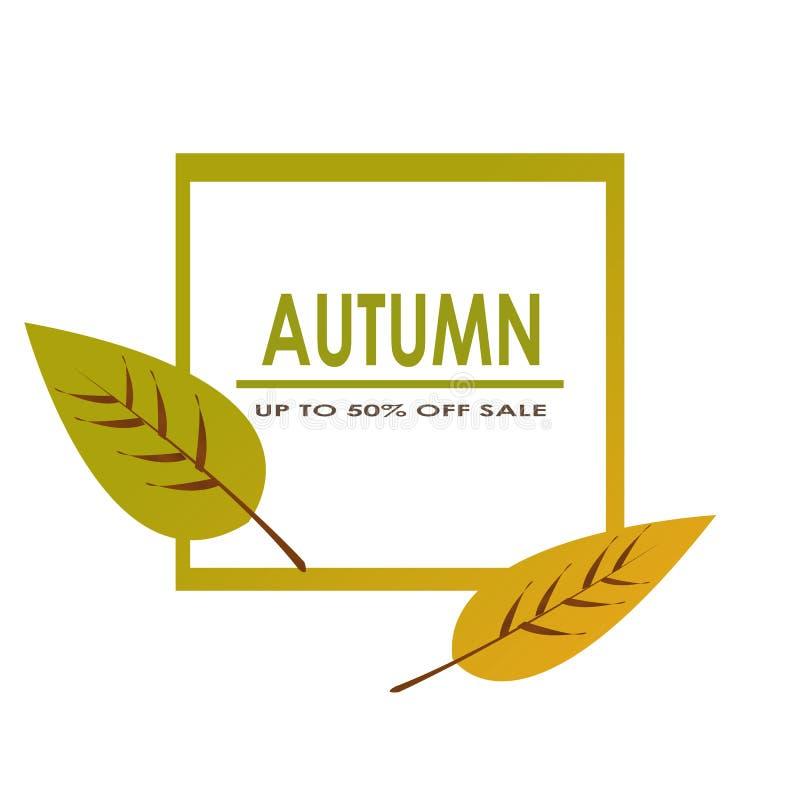 Jesieni sprzedaż dekoruje z dwa liśćmi dla robić zakupy sprzedaży promo plakata, ramy sieci i ulotki sztandaru wektor lub royalty ilustracja