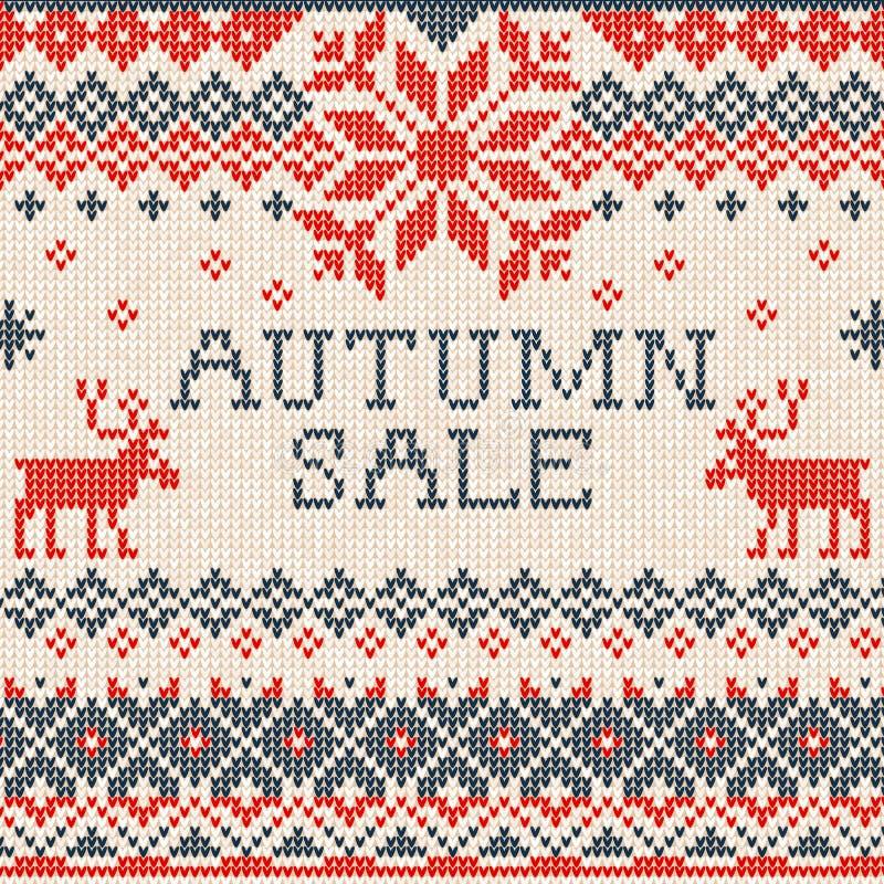 Jesieni sprzedaż: Skandynawa stylowy bezszwowy trykotowy wzór z de ilustracji