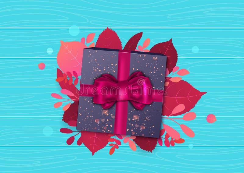 Jesieni sprzedaży promoci projekta szablon z pudełkiem, łękiem i liśćmi pod nim na błękitnym tle prezenta, Jaskrawy spadku wektor royalty ilustracja