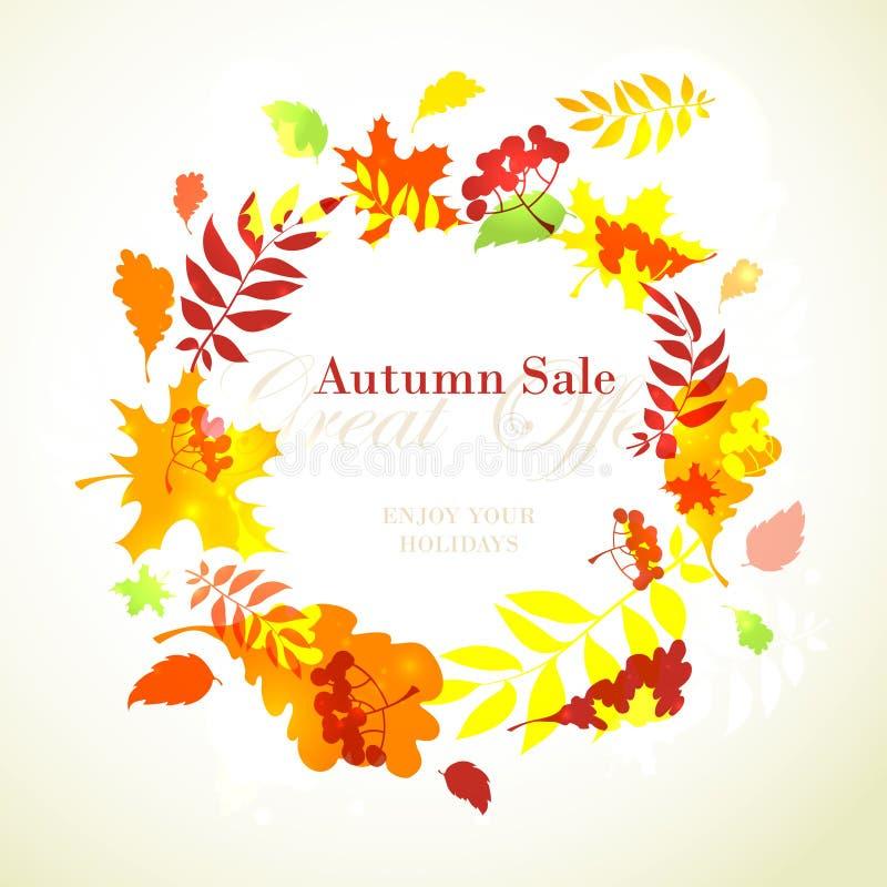 Jesieni sprzedaży szablonu round rama z spadków jaskrawymi liśćmi: dąb, m ilustracja wektor