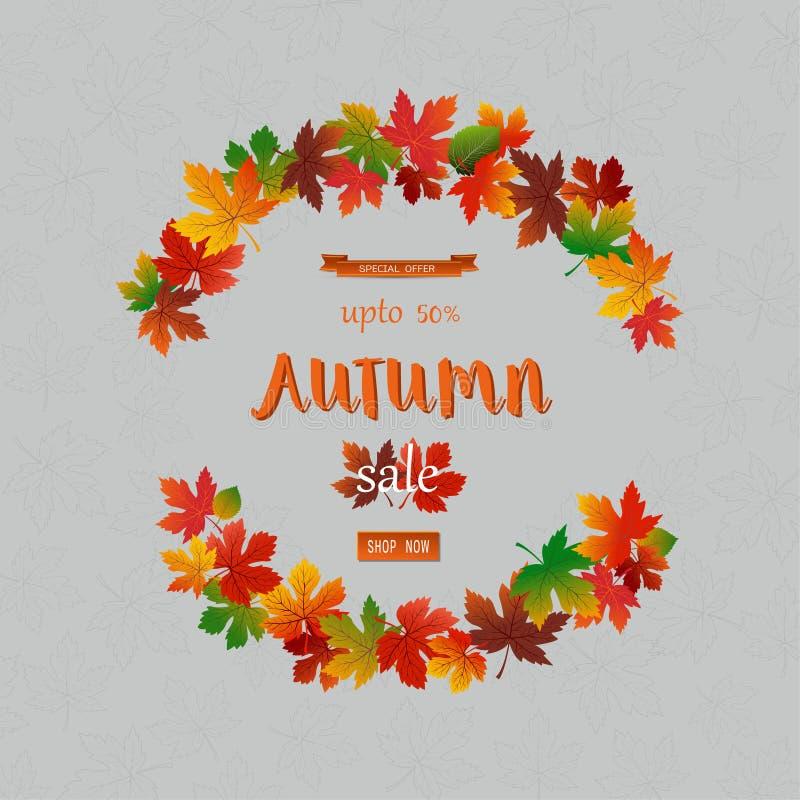 Jesieni sprzedaży sztandar z kolorowymi liśćmi, spadku plakatowy tło dla etykietki, strona internetowa, ulotka, reklama, alegata  ilustracja wektor