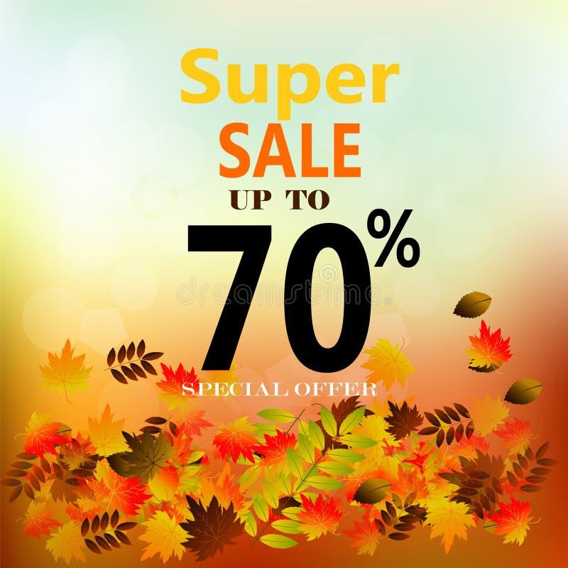 Jesieni sprzedaży sztandar z kolorowymi spadków liśćmi ilustracji