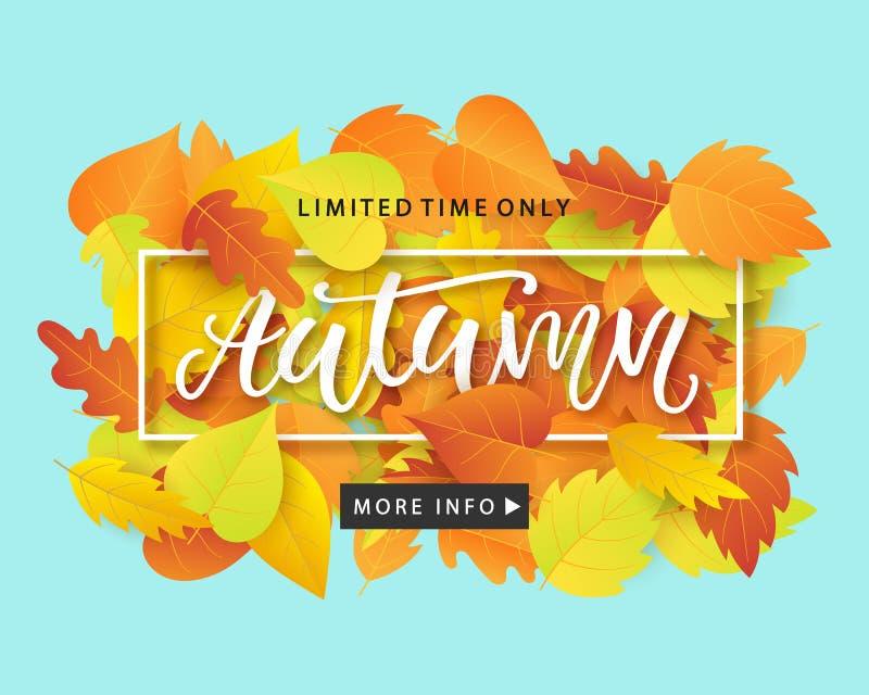 Jesieni sprzedaży sztandaru Modny szablon z Kolorowym spadkiem Opuszcza na jaskrawym modnym błękitnym tle ilustracji