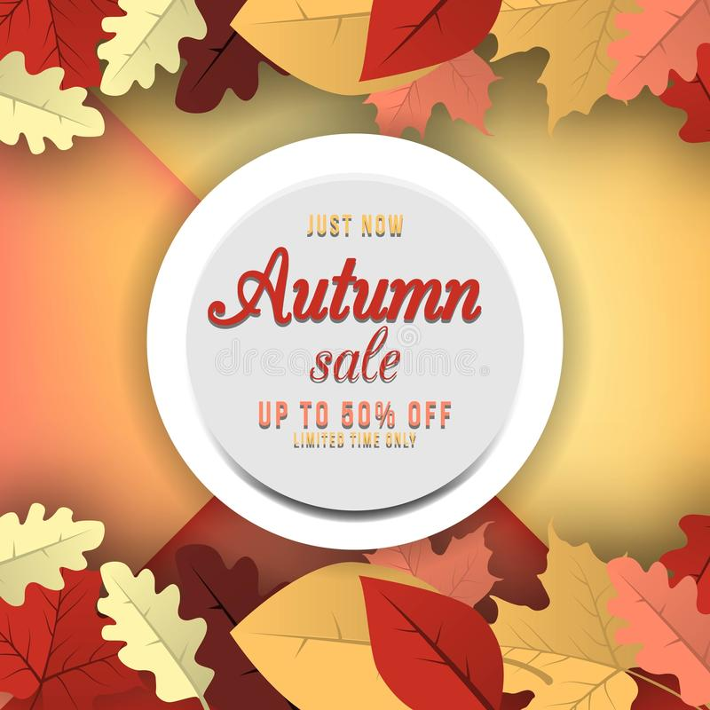 Jesieni sprzedaży sztandaru projekt z dyskontową etykietką w kolorowym jesień liści tle również zwrócić corel ilustracji wektora ilustracji