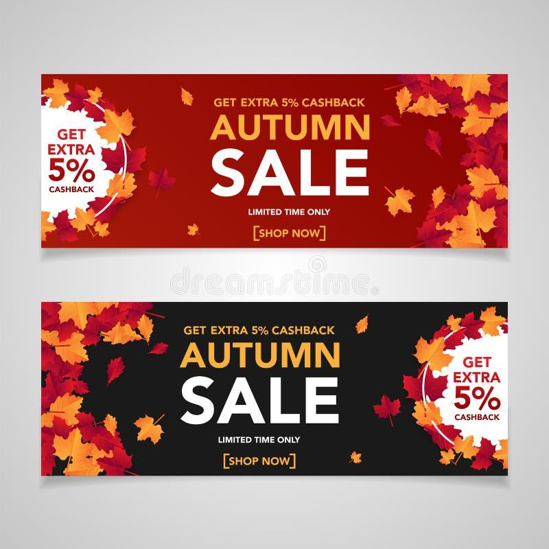 Jesieni sprzedaży sztandaru szablon z liśćmi, spadek opuszcza dla robić zakupy sprzedaż Sztandaru projekt Plakat, karta, etykietk ilustracji