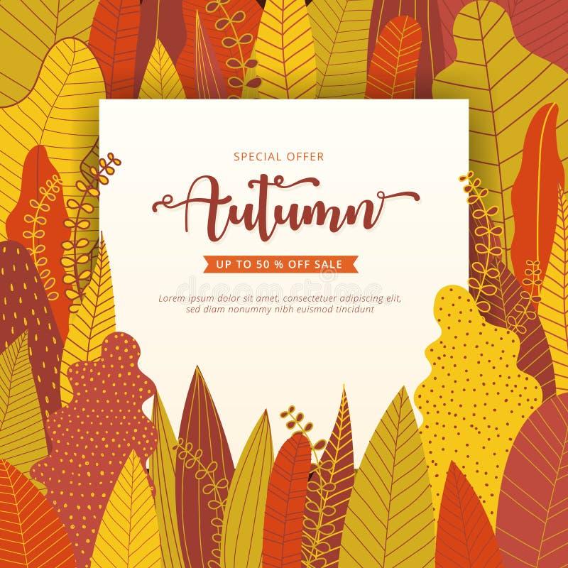 Jesieni sprzedaży sztandaru układu szablon dekoruje z lasowym backgrou ilustracji