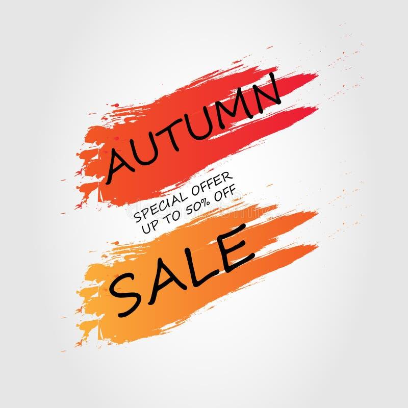 Jesieni sprzedaży tła układ dekoruje muśnięcie ilustracja wektor
