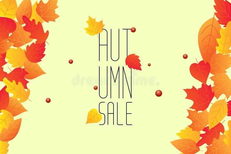 Jesieni sprzedaży tła układ dekoruje z liśćmi dla robić zakupy ilustracji