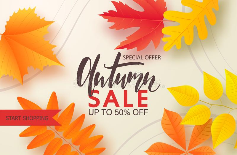 Jesieni sprzedaży tła układ dekoruje z liśćmi dla robić zakupy plakat, ramy sieć i ulotkę sprzedaży lub promo lub sztandar ilustracja wektor