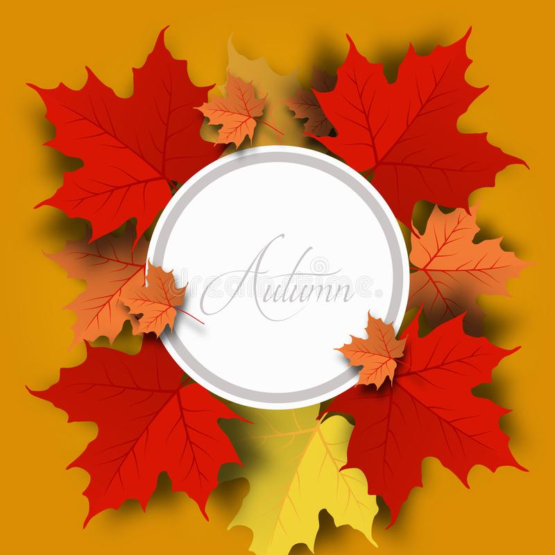 Jesieni sprzedaży tła układ dekoruje z liśćmi dla robić zakupy sprzedaż ilustracji