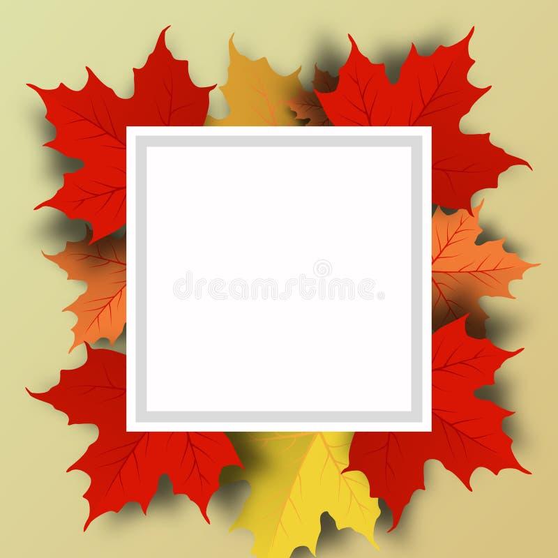 Jesieni sprzedaży tła układ dekoruje z liśćmi dla robić zakupy sprzedaż ilustracja wektor