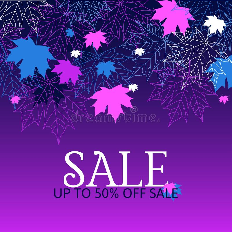 Jesieni sprzedaży tło Purpury i błękitów kolory ilustracja wektor