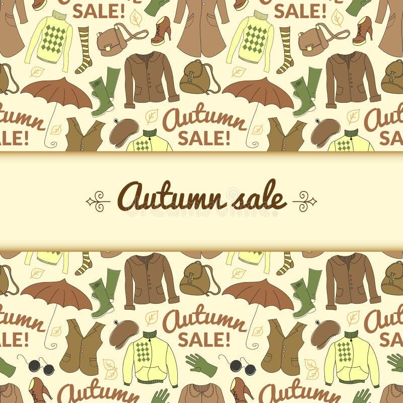 Jesieni sprzedaży tło z sezon kobietami odziewa ilustracja wektor
