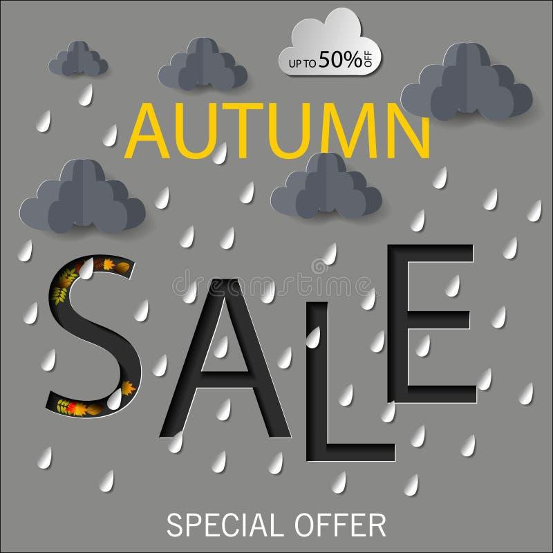Jesieni sprzedaży teksta wektorowy sztandar z kolorowymi sezonowymi spadków liśćmi w pomarańczowym tle dla robić zakupy dyskontow ilustracja wektor