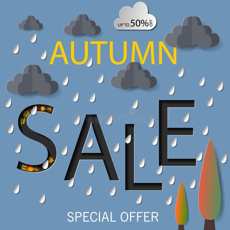 Jesieni sprzedaży teksta wektorowy sztandar z kolorowymi sezonowymi spadków liśćmi w pomarańczowym tle dla robić zakupy dyskontow ilustracji