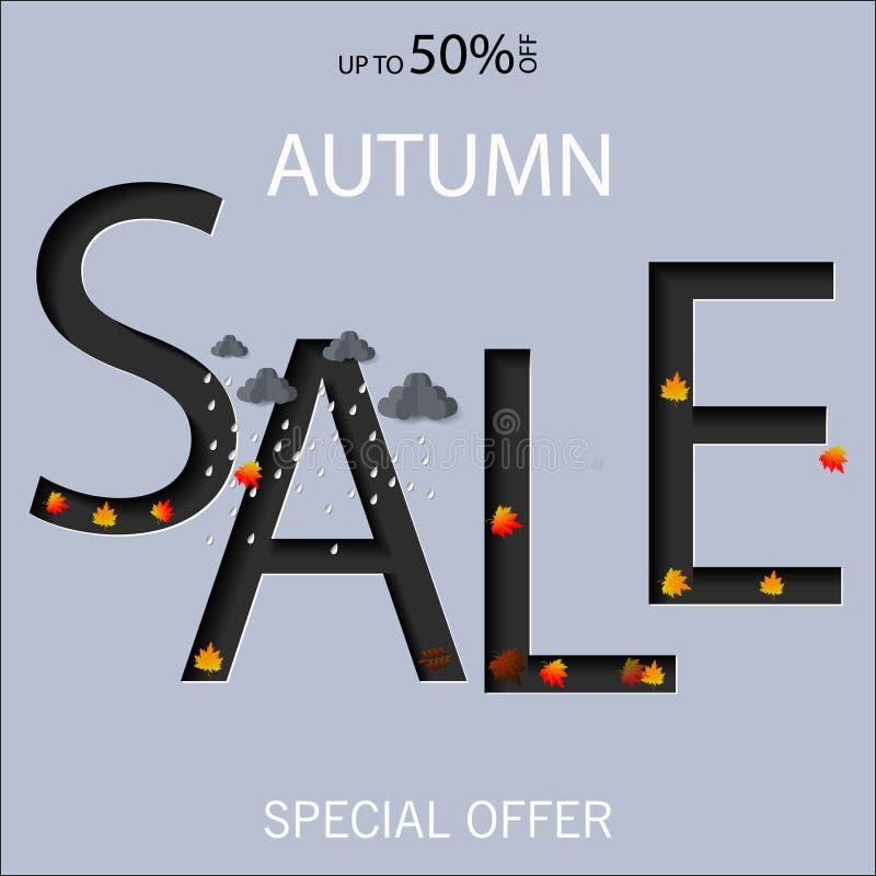 Jesieni sprzedaży teksta wektorowy sztandar z kolorowymi sezonowymi spadków liśćmi w pomarańczowym tle dla robić zakupy dyskontow royalty ilustracja