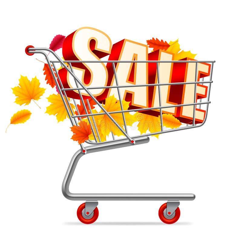 Jesieni sprzedaży wózek na zakupy ilustracji